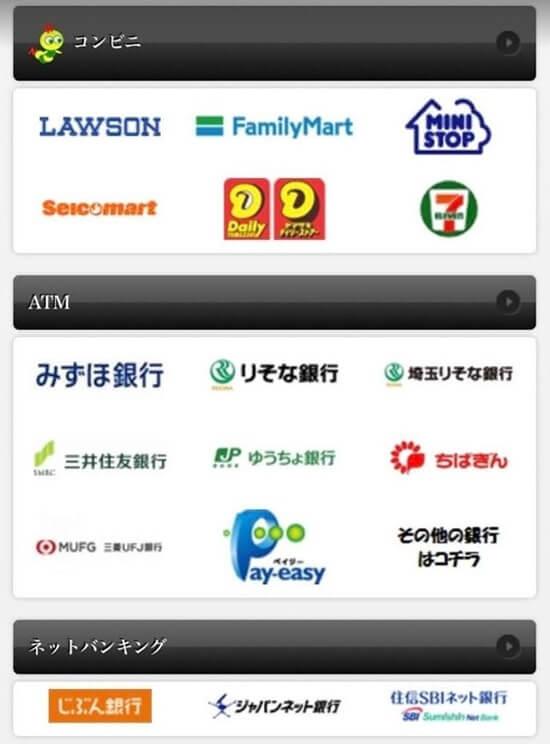 アイコンをタップすると、支払い方法の詳しい手順が記載されています。