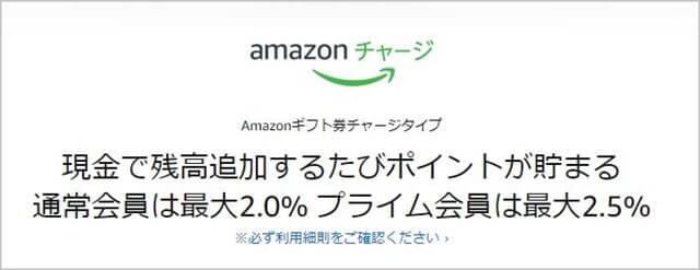 Amazonギフト券チャージタイプは、チャージ額に応じてポイントが貯まります。