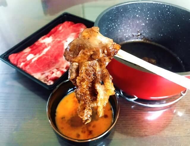 通販でお取り寄せした『神戸牛切り落とし500g』のすき焼き